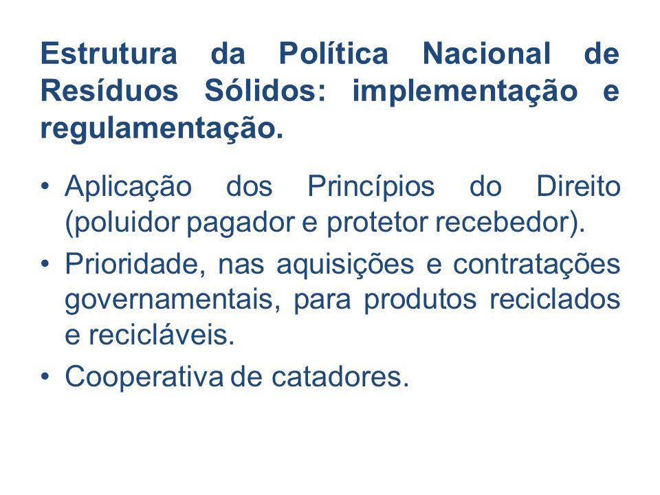 Estrutura da Política Nacional de Resíduos Sólidos: implementação e regulamentação. Aplicação dos Princípios do Direito (poluidor pagador e protetor r