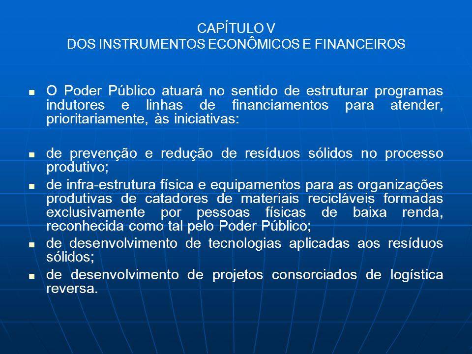 CAPÍTULO V DOS INSTRUMENTOS ECONÔMICOS E FINANCEIROS O Poder Público atuará no sentido de estruturar programas indutores e linhas de financiamentos pa