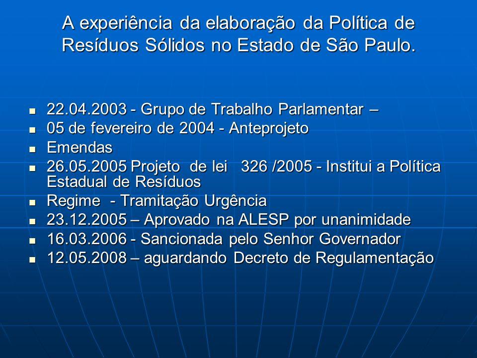 A experiência da elaboração da Política de Resíduos Sólidos no Estado de São Paulo. 22.04.2003 - Grupo de Trabalho Parlamentar – 22.04.2003 - Grupo de