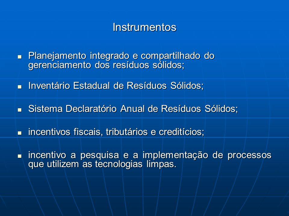 Instrumentos Planejamento integrado e compartilhado do gerenciamento dos resíduos sólidos; Planejamento integrado e compartilhado do gerenciamento dos
