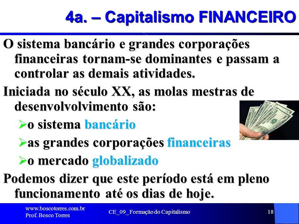 CE_09_ Formação do Capitalismo18 4a. – Capitalismo FINANCEIRO O sistema bancário e grandes corporações financeiras tornam-se dominantes e passam a con