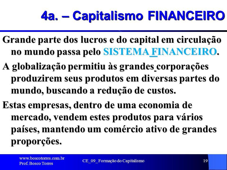 CE_09_ Formação do Capitalismo19 4a. – Capitalismo FINANCEIRO Grande parte dos lucros e do capital em circulação no mundo passa pelo SISTEMA FINANCEIR