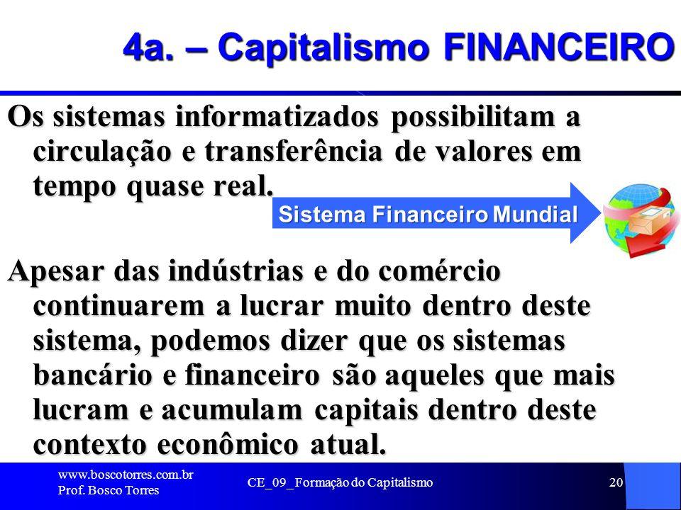 CE_09_ Formação do Capitalismo20 4a. – Capitalismo FINANCEIRO Os sistemas informatizados possibilitam a circulação e transferência de valores em tempo