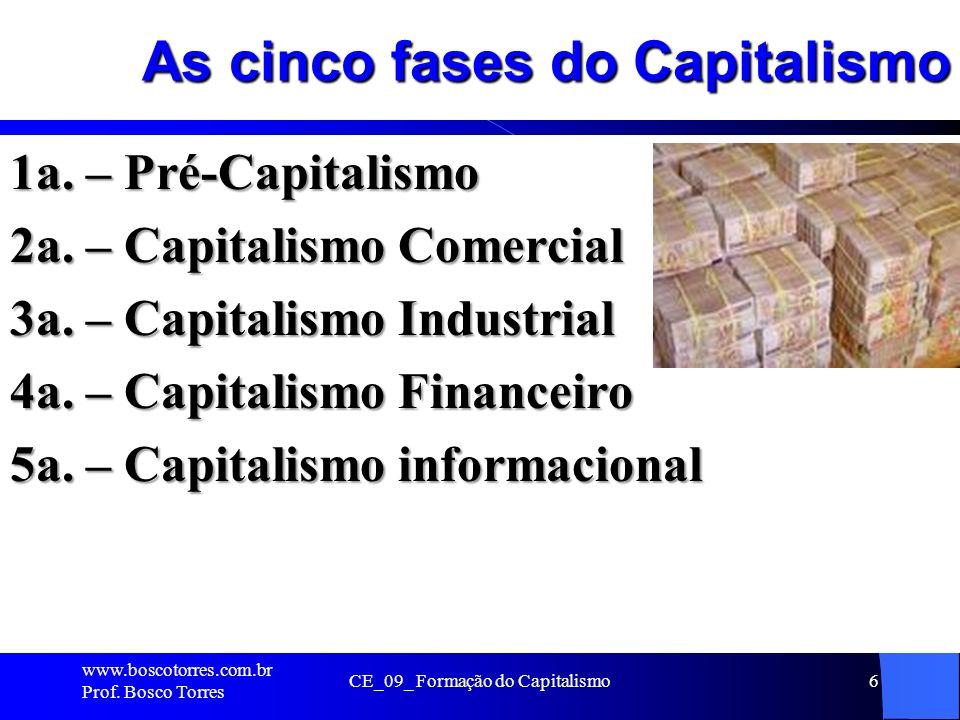 As cinco fases do Capitalismo 1a. – Pré-Capitalismo 2a. – Capitalismo Comercial 3a. – Capitalismo Industrial 4a. – Capitalismo Financeiro 5a. – Capita