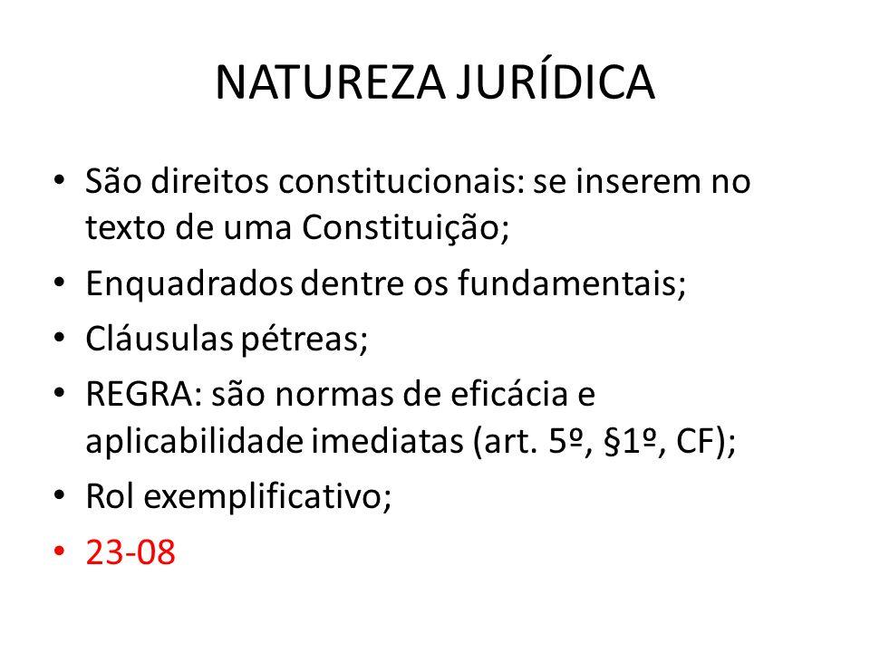 NATUREZA JURÍDICA São direitos constitucionais: se inserem no texto de uma Constituição; Enquadrados dentre os fundamentais; Cláusulas pétreas; REGRA:
