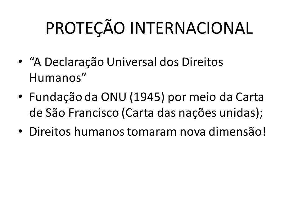 PROTEÇÃO INTERNACIONAL A Declaração Universal dos Direitos Humanos Fundação da ONU (1945) por meio da Carta de São Francisco (Carta das nações unidas)