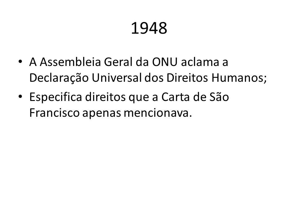 1948 A Assembleia Geral da ONU aclama a Declaração Universal dos Direitos Humanos; Especifica direitos que a Carta de São Francisco apenas mencionava.