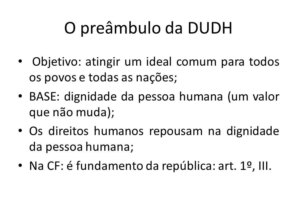 O preâmbulo da DUDH Objetivo: atingir um ideal comum para todos os povos e todas as nações; BASE: dignidade da pessoa humana (um valor que não muda);