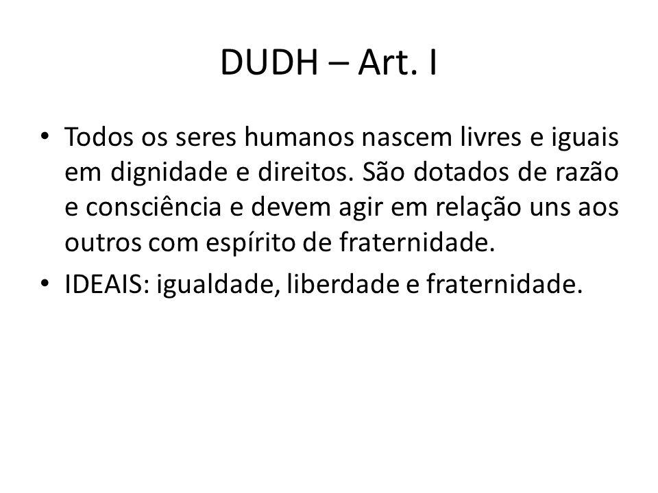 DUDH – Art. I Todos os seres humanos nascem livres e iguais em dignidade e direitos. São dotados de razão e consciência e devem agir em relação uns ao
