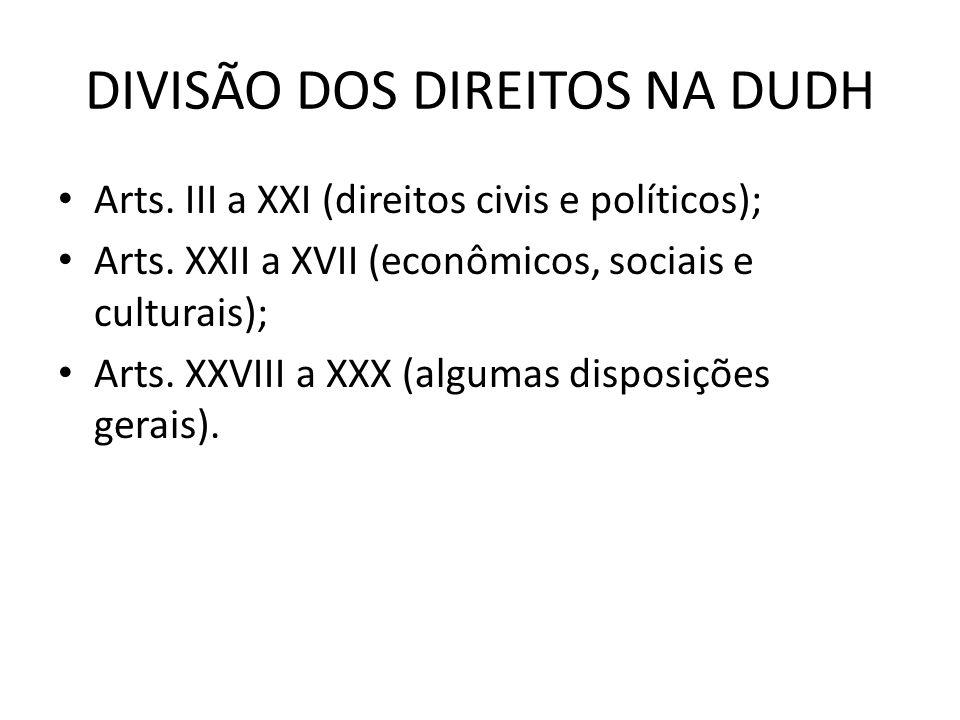 DIVISÃO DOS DIREITOS NA DUDH Arts. III a XXI (direitos civis e políticos); Arts. XXII a XVII (econômicos, sociais e culturais); Arts. XXVIII a XXX (al