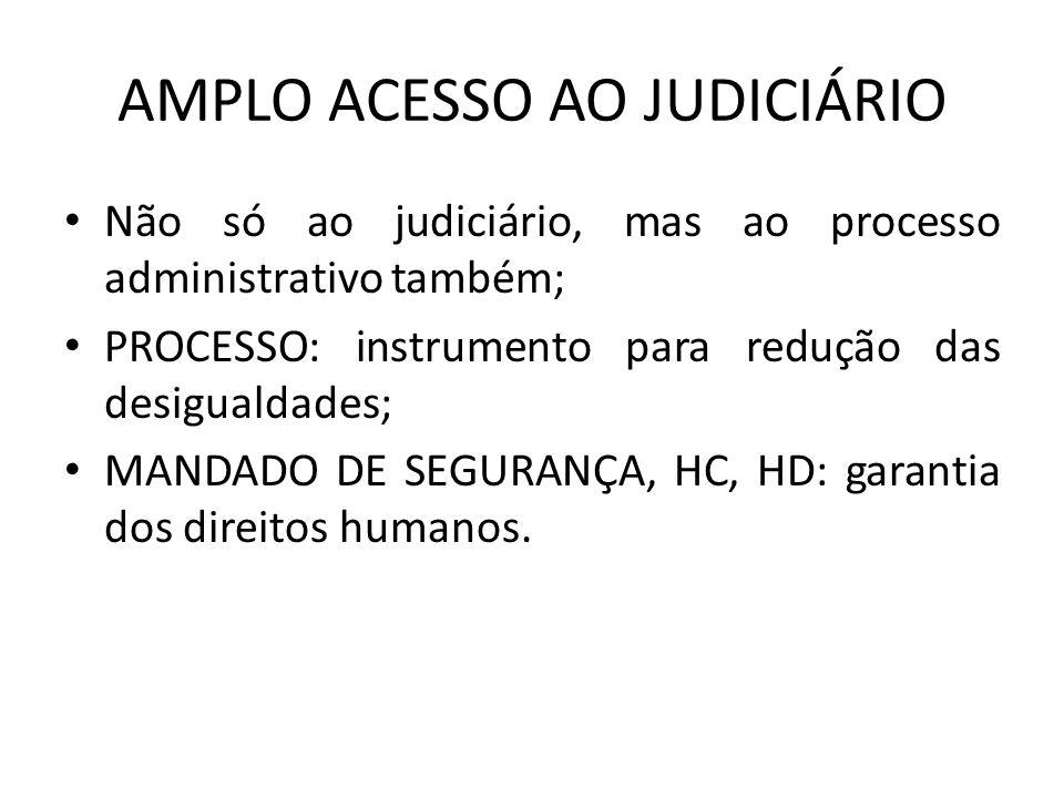 AMPLO ACESSO AO JUDICIÁRIO Não só ao judiciário, mas ao processo administrativo também; PROCESSO: instrumento para redução das desigualdades; MANDADO
