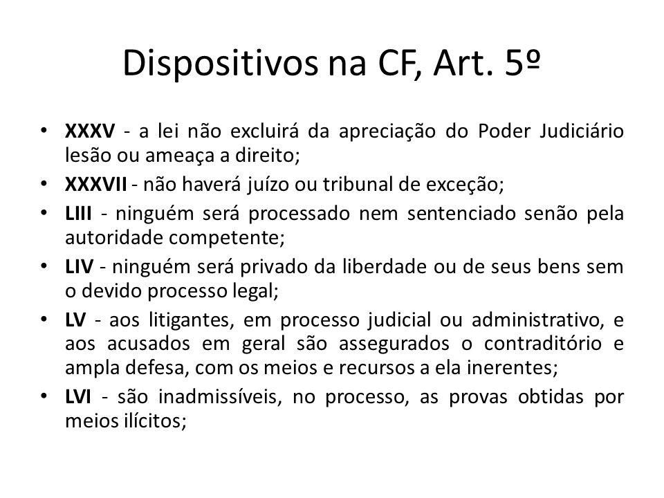 Dispositivos na CF, Art. 5º XXXV - a lei não excluirá da apreciação do Poder Judiciário lesão ou ameaça a direito; XXXVII - não haverá juízo ou tribun