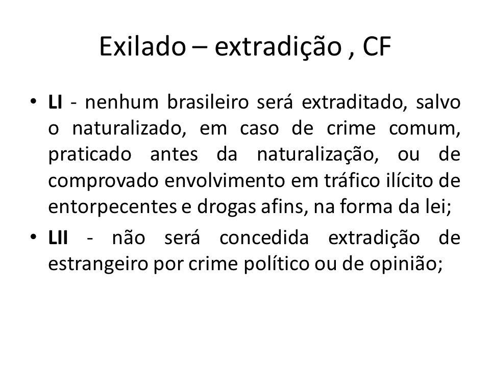 Exilado – extradição, CF LI - nenhum brasileiro será extraditado, salvo o naturalizado, em caso de crime comum, praticado antes da naturalização, ou d