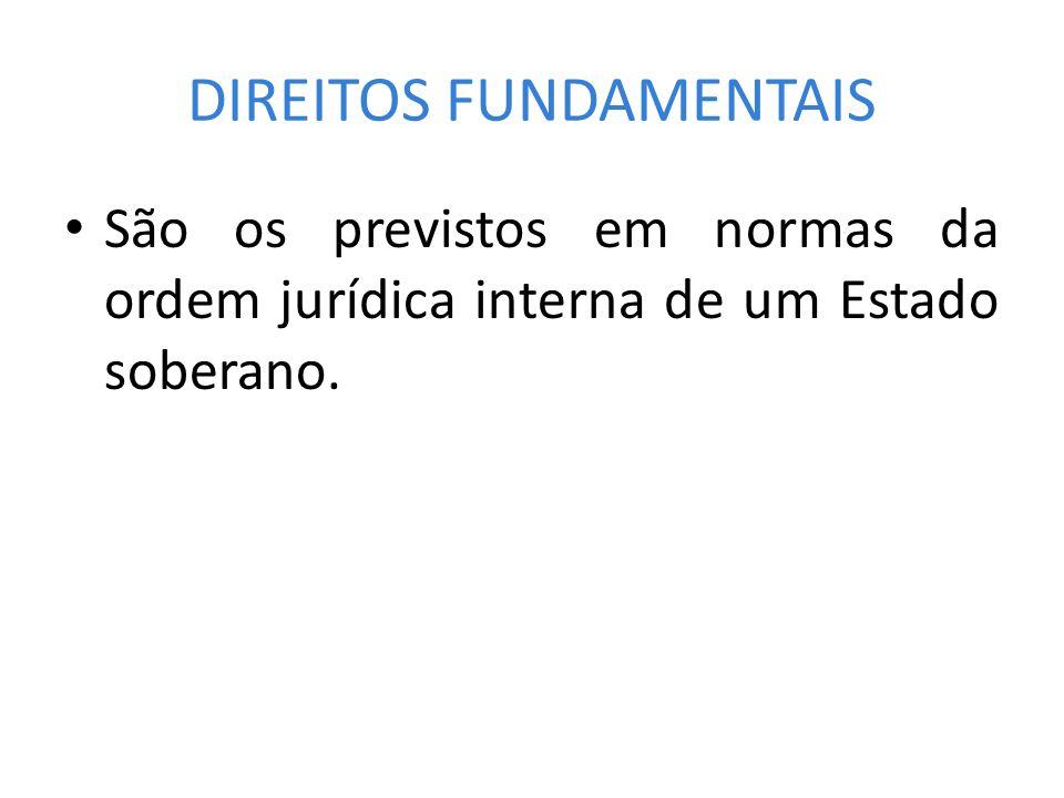 DIREITOS FUNDAMENTAIS São os previstos em normas da ordem jurídica interna de um Estado soberano.