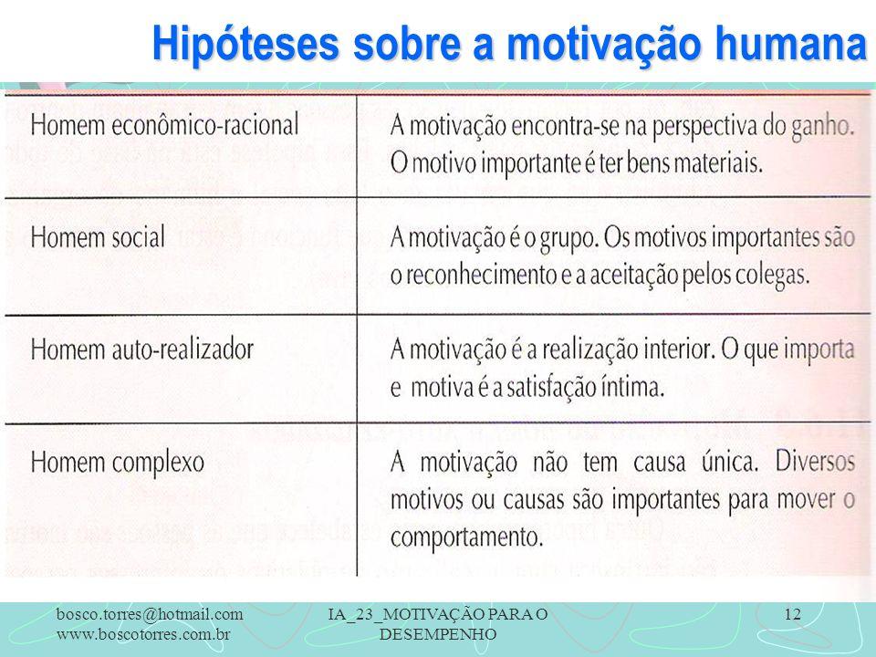 IA_23_MOTIVAÇÃO PARA O DESEMPENHO 12 Hipóteses sobre a motivação humana. bosco.torres@hotmail.com www.boscotorres.com.br
