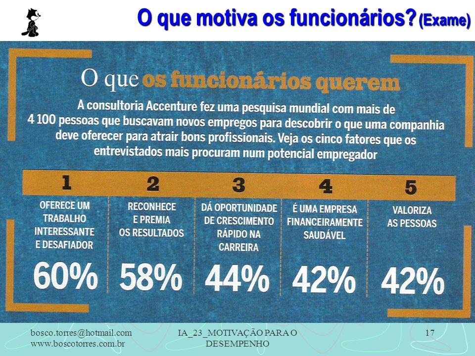 IA_23_MOTIVAÇÃO PARA O DESEMPENHO 17 O que motiva os funcionários? (Exame). bosco.torres@hotmail.com www.boscotorres.com.br