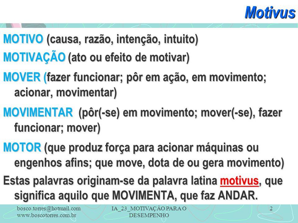 IA_23_MOTIVAÇÃO PARA O DESEMPENHO 2Motivus MOTIVO (causa, razão, intenção, intuito) MOTIVAÇÃO (ato ou efeito de motivar) MOVER (fazer funcionar; pôr e