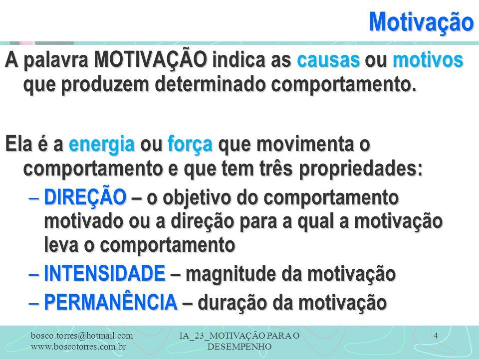 IA_23_MOTIVAÇÃO PARA O DESEMPENHO 4Motivação A palavra MOTIVAÇÃO indica as causas ou motivos que produzem determinado comportamento. Ela é a energia o