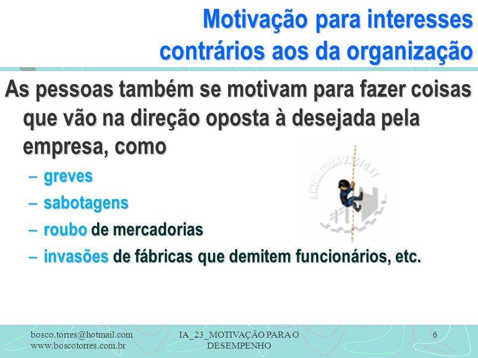 IA_23_MOTIVAÇÃO PARA O DESEMPENHO 6 Motivação para interesses contrários aos da organização As pessoas também se motivam para fazer coisas que vão na