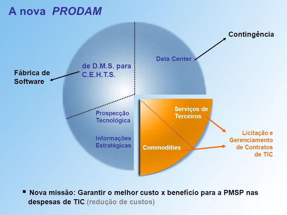 A nova PRODAM Serviços de Terceiros Commodities de D.M.S. para C.E.H.T.S. Prospecção Tecnológica Informações Estratégicas Licitação e Gerenciamento de