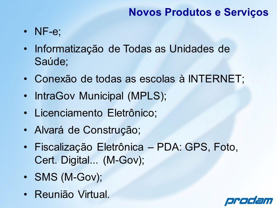 NF-e; Informatização de Todas as Unidades de Saúde; Conexão de todas as escolas à INTERNET; IntraGov Municipal (MPLS); Licenciamento Eletrônico; Alvar