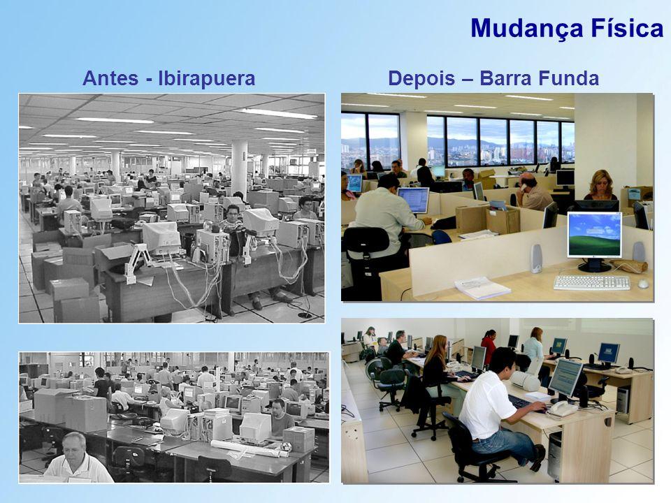 Antes - Ibirapuera Mudança Física Depois – Barra Funda