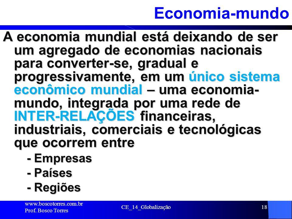 CE_14_Globalização18Economia-mundo A economia mundial está deixando de ser um agregado de economias nacionais para converter-se, gradual e progressiva