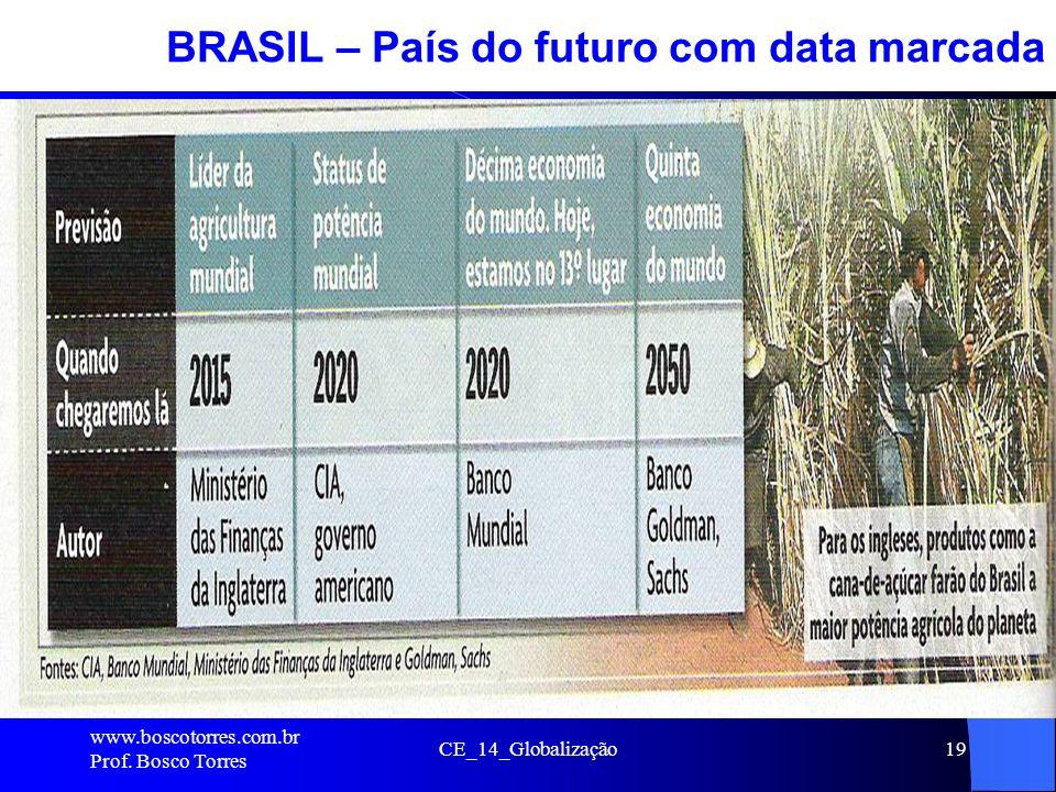 CE_14_Globalização19 BRASIL – País do futuro com data marcada. www.boscotorres.com.br Prof. Bosco Torres