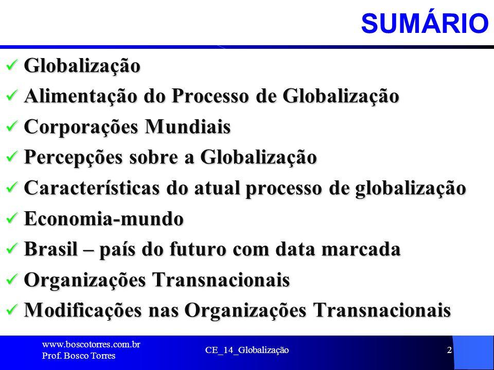 CE_14_Globalização2SUMÁRIO Globalização Globalização Alimentação do Processo de Globalização Alimentação do Processo de Globalização Corporações Mundi