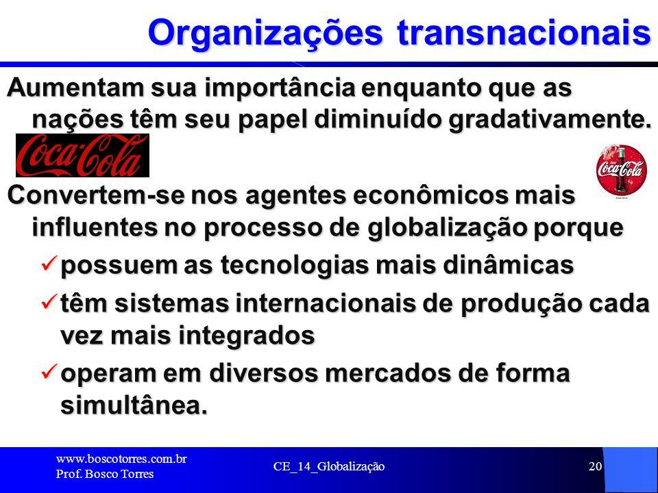 CE_14_Globalização20 Organizações transnacionais Aumentam sua importância enquanto que as nações têm seu papel diminuído gradativamente. Convertem-se