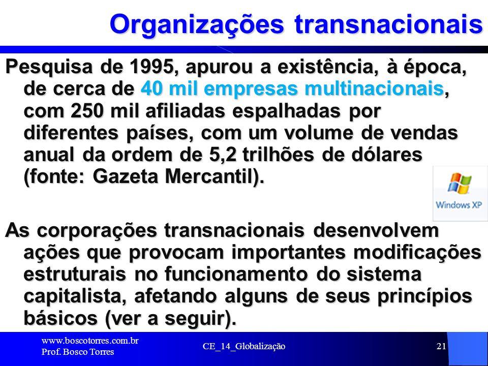 CE_14_Globalização21 Organizações transnacionais Pesquisa de 1995, apurou a existência, à época, de cerca de 40 mil empresas multinacionais, com 250 m