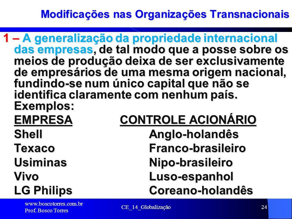 24 Modificações nas Organizações Transnacionais 1 – A generalização da propriedade internacional das empresas, de tal modo que a posse sobre os meios