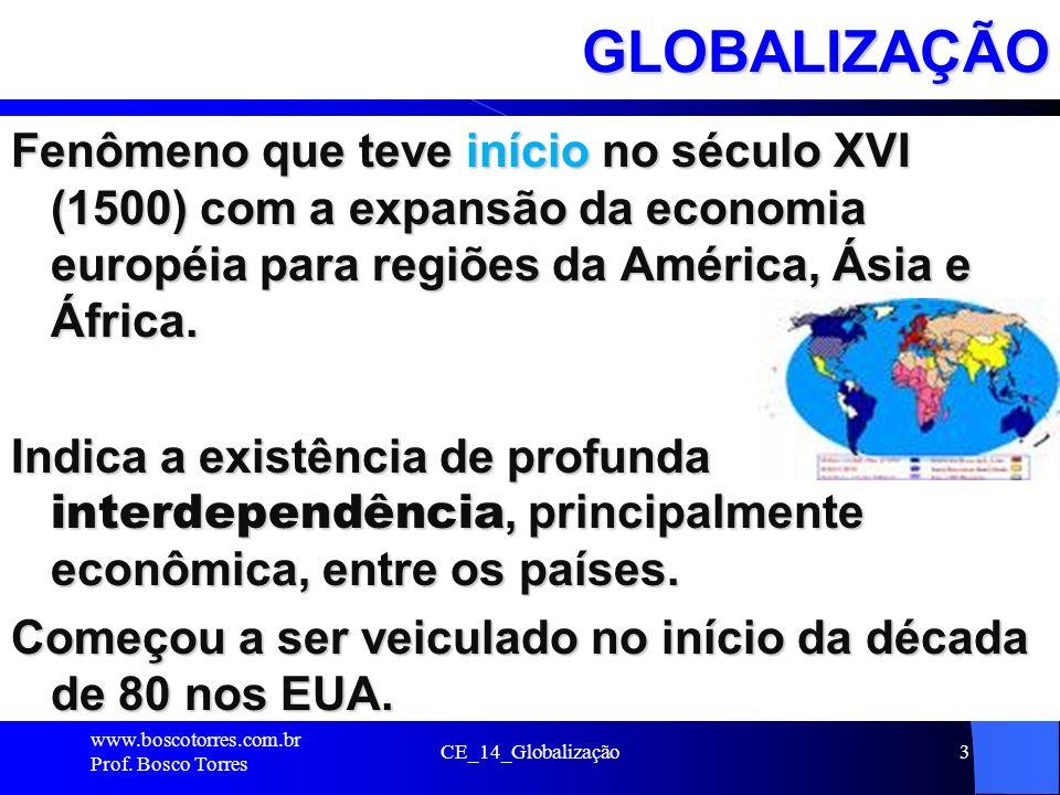 CE_14_Globalização3GLOBALIZAÇÃO Fenômeno que teve início no século XVI (1500) com a expansão da economia européia para regiões da América, Ásia e Áfri