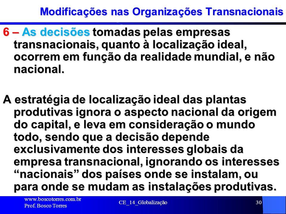 CE_14_Globalização30 Modificações nas Organizações Transnacionais 6 – As decisões tomadas pelas empresas transnacionais, quanto à localização ideal, o