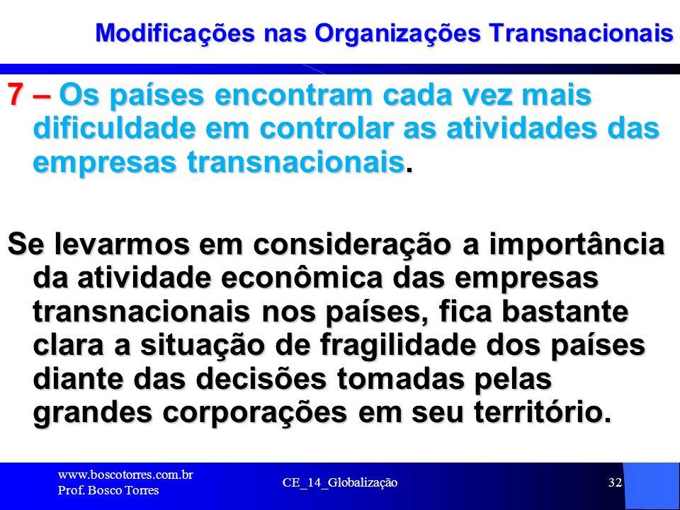 CE_14_Globalização32 Modificações nas Organizações Transnacionais 7 – Os países encontram cada vez mais dificuldade em controlar as atividades das emp