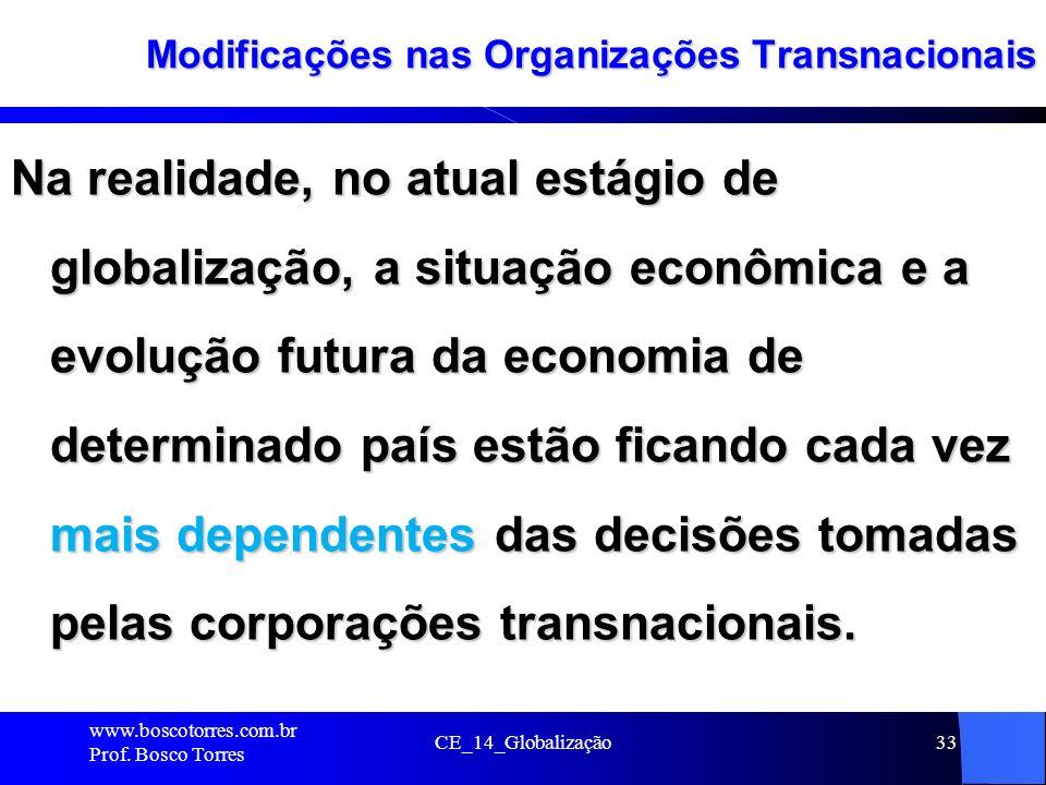CE_14_Globalização33 Modificações nas Organizações Transnacionais Na realidade, no atual estágio de globalização, a situação econômica e a evolução fu