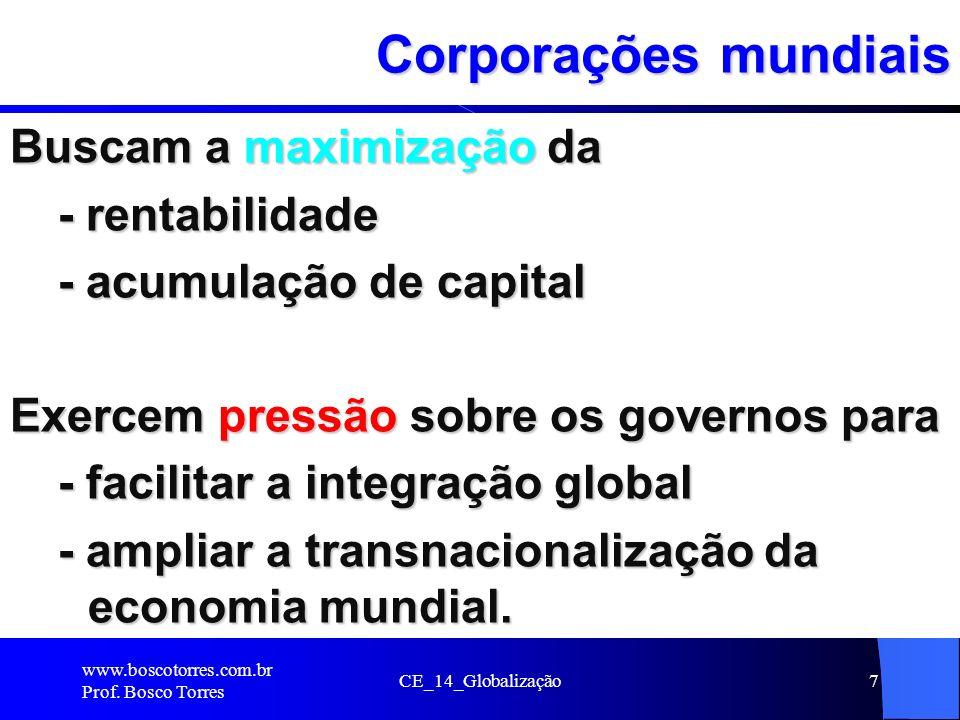 CE_14_Globalização7 Corporações mundiais Buscam a maximização da - rentabilidade - acumulação de capital Exercem pressão sobre os governos para - faci