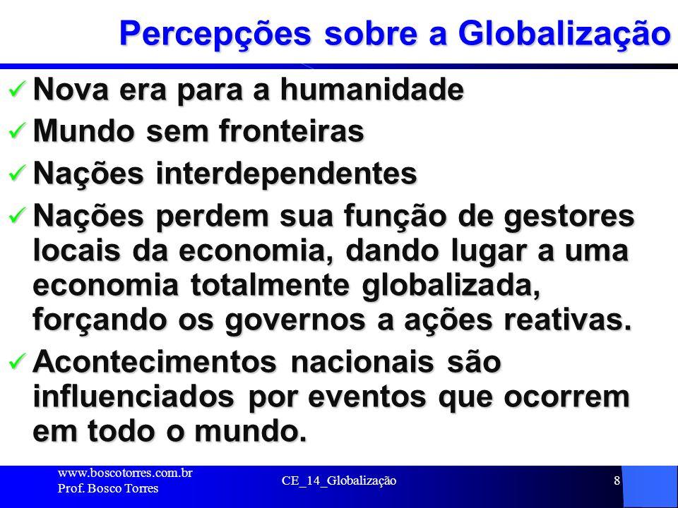 CE_14_Globalização8 Percepções sobre a Globalização Nova era para a humanidade Nova era para a humanidade Mundo sem fronteiras Mundo sem fronteiras Na