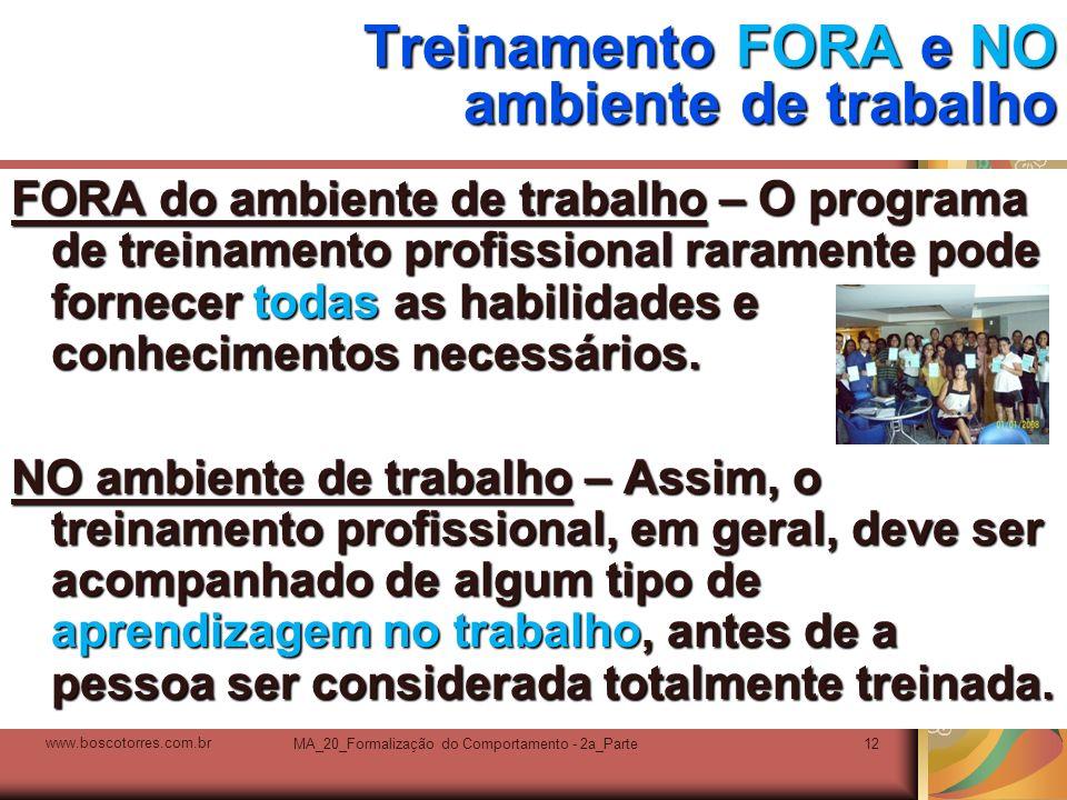 MA_20_Formalização do Comportamento - 2a_Parte12 Treinamento FORA e NO ambiente de trabalho FORA do ambiente de trabalho – O programa de treinamento p