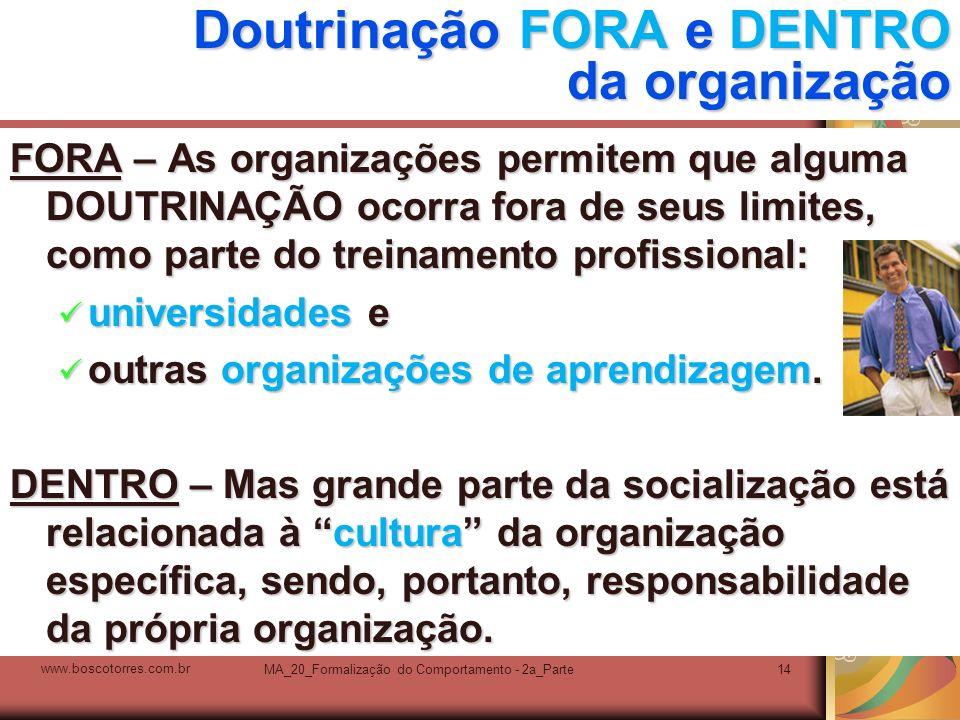 MA_20_Formalização do Comportamento - 2a_Parte14 Doutrinação FORA e DENTRO da organização FORA – As organizações permitem que alguma DOUTRINAÇÃO ocorr