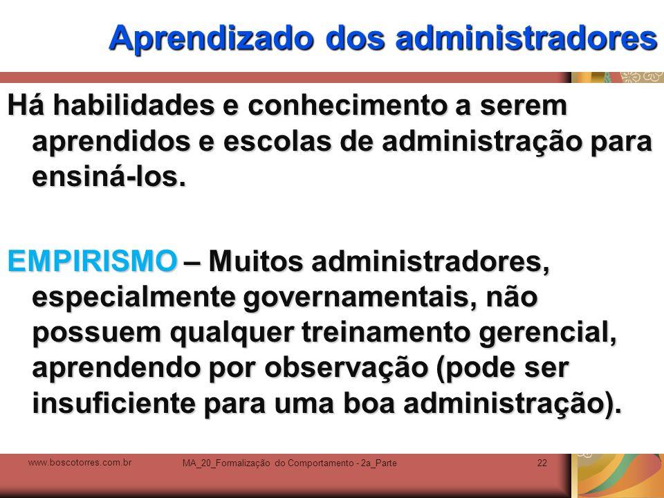 MA_20_Formalização do Comportamento - 2a_Parte22 Aprendizado dos administradores Há habilidades e conhecimento a serem aprendidos e escolas de adminis