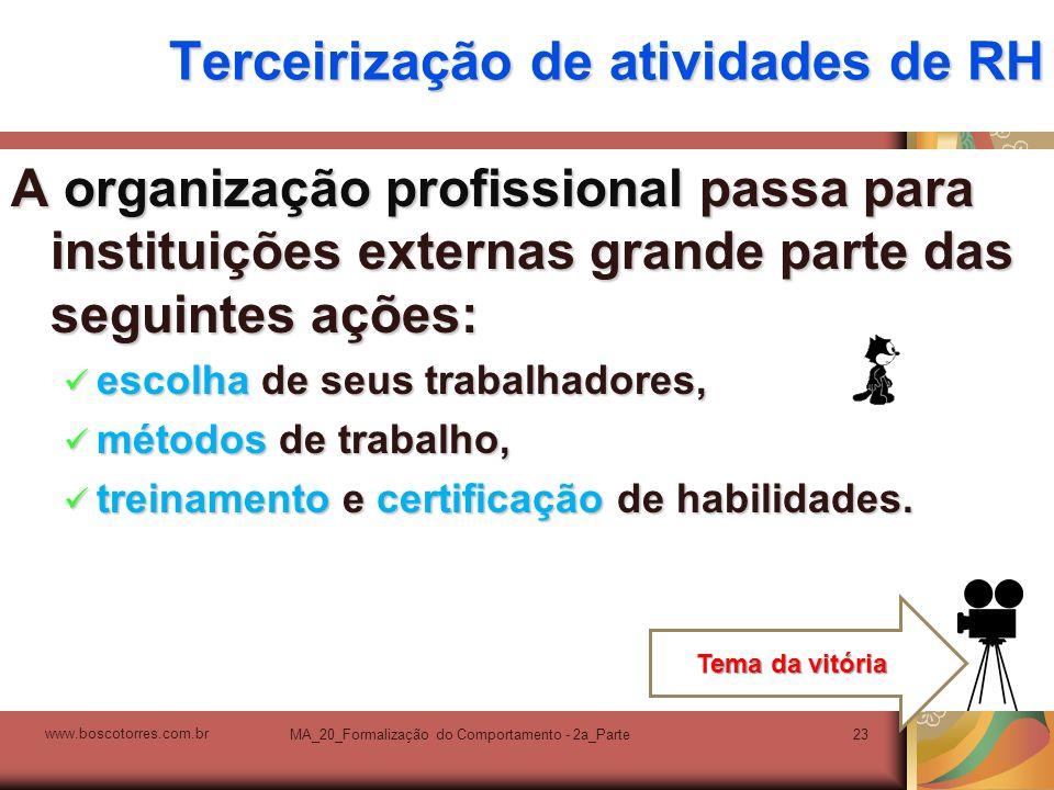 MA_20_Formalização do Comportamento - 2a_Parte23 Terceirização de atividades de RH A organização profissional passa para instituições externas grande