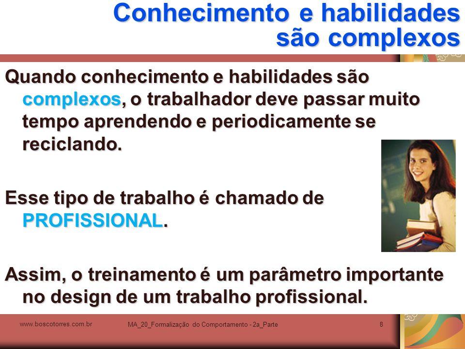MA_20_Formalização do Comportamento - 2a_Parte8 Conhecimento e habilidades são complexos Quando conhecimento e habilidades são complexos, o trabalhado