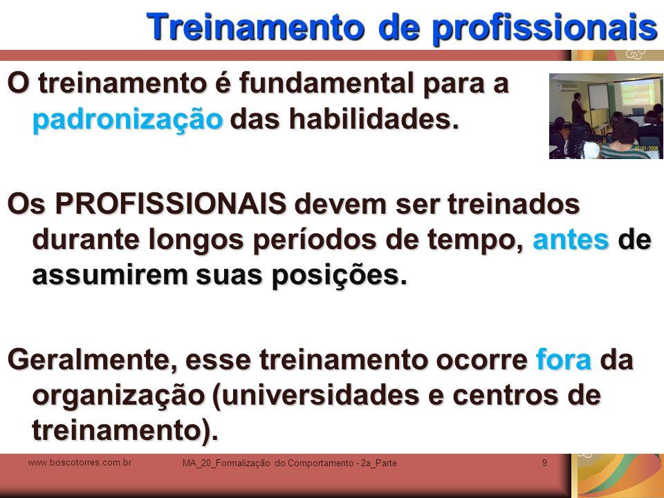 MA_20_Formalização do Comportamento - 2a_Parte9 Treinamento de profissionais O treinamento é fundamental para a padronização das habilidades. Os PROFI