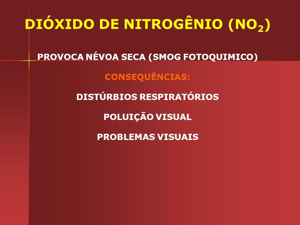 DIÓXIDO DE NITROGÊNIO (NO 2 ) PROVOCA NÉVOA SECA (SMOG FOTOQUIMICO) CONSEQUÊNCIAS: DISTÚRBIOS RESPIRATÓRIOS POLUIÇÃO VISUAL PROBLEMAS VISUAIS