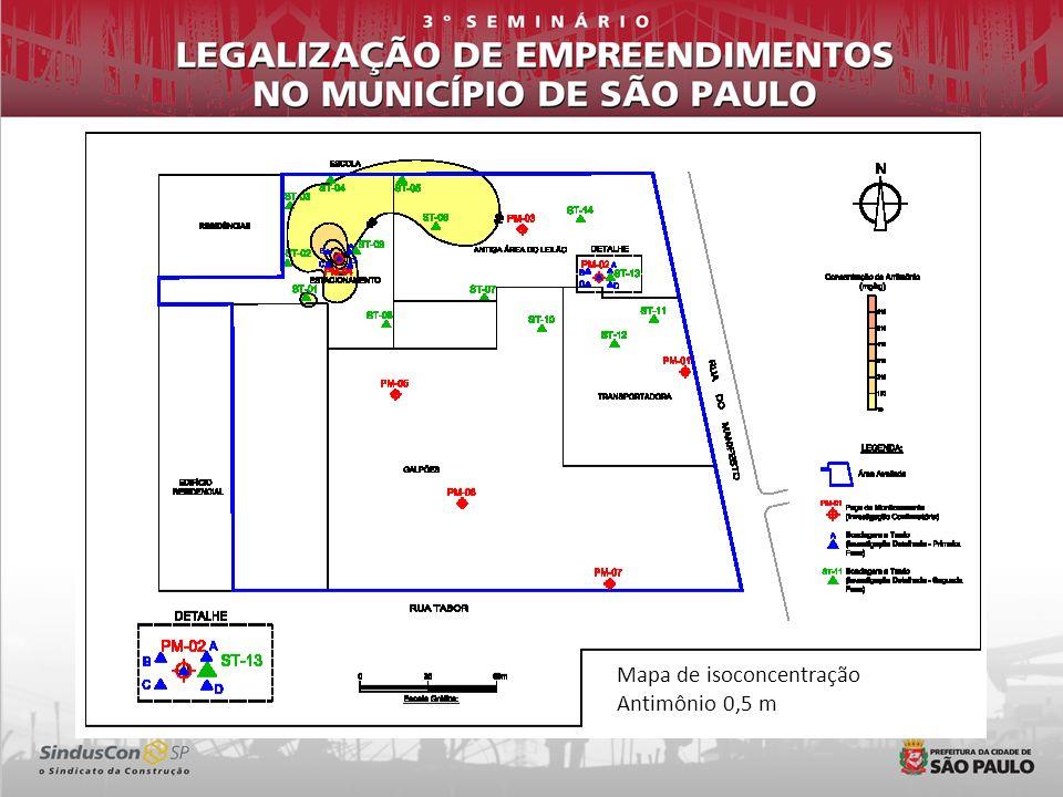 Mapa de isoconcentração Antimônio 0,5 m