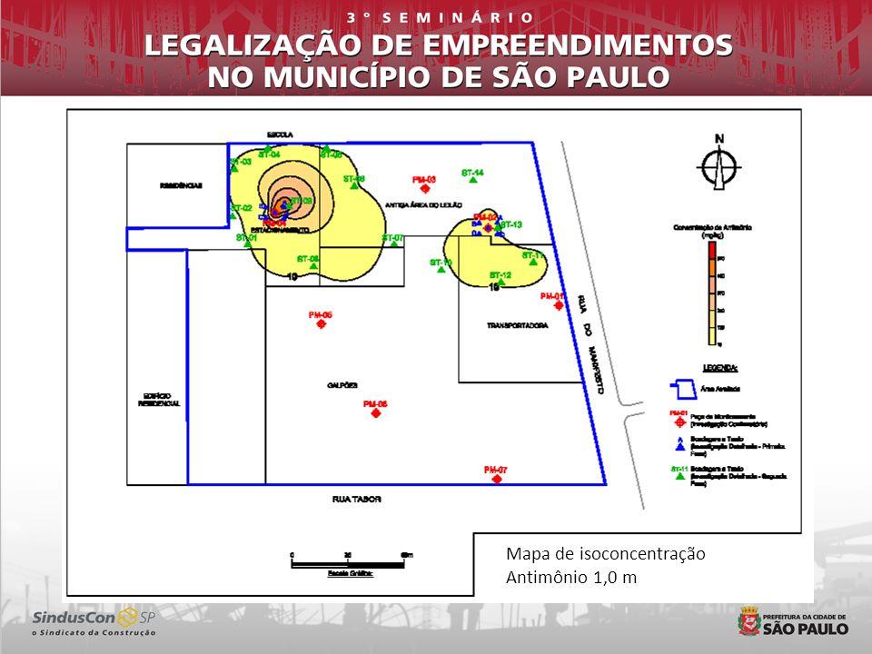 Mapa de isoconcentração Antimônio 1,0 m