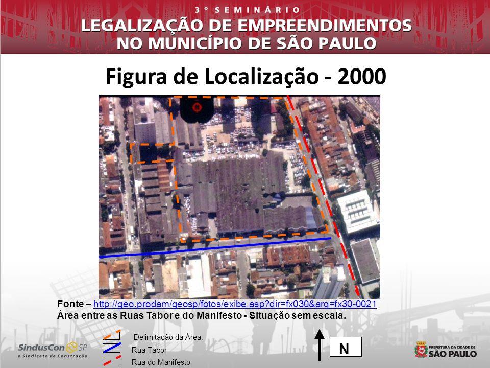 Fonte – Google Earth - Área entre as Ruas Tabor e do Manifesto - Situação sem escala.