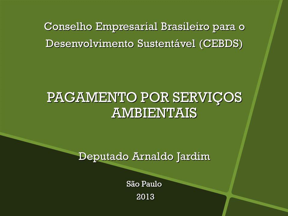 Conselho Empresarial Brasileiro para o Desenvolvimento Sustentável (CEBDS) PAGAMENTO POR SERVIÇOS AMBIENTAIS Deputado Arnaldo Jardim São Paulo 2013 2013