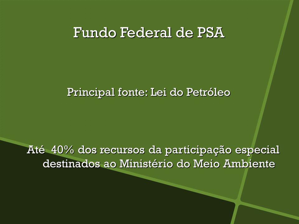 Fundo Federal de PSA Principal fonte: Lei do Petróleo Até 40% dos recursos da participação especial destinados ao Ministério do Meio Ambiente Até 40% dos recursos da participação especial destinados ao Ministério do Meio Ambiente